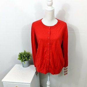 BODEN Cassandra Rainbow Cardigan Sweater Red NWT